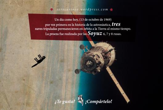 13 de octubre de 1969: por vez primera en la historia de la astronáutica, tres  naves tripuladas permanecieron en órbita a la Tierra al mismo tiempo. La proeza fue realizada por las Soyuz 6, 7 y 8 rusas.