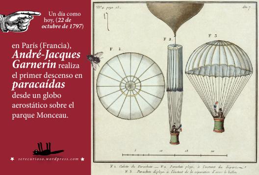 (22 de octubre de 1797: en París (Francia),  André-Jacques Garnerin realiza el primer descenso en paracaídas desde un globo aerostático sobre el parque Monceau.